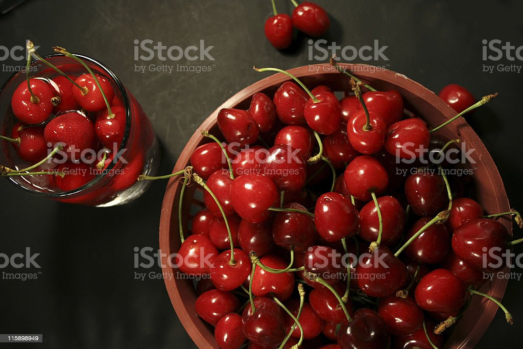 cherries in basket royalty-free stock photo