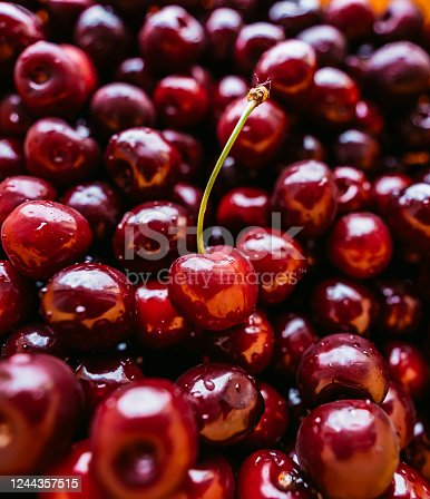 Tasty red cherries in bowl, close up.