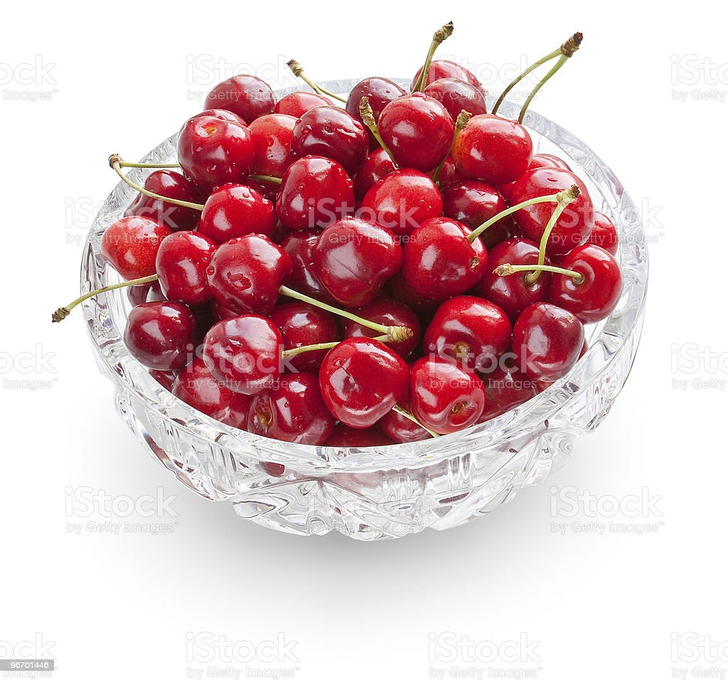 Cherries in crystal bowl royalty-free stock photo