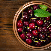 Cherries Background. Sweet Black and Red Cherries. Selective focus.