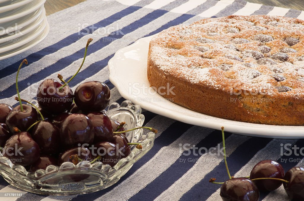 Cherry Almond Cake With Fresh Cherries royalty-free stock photo