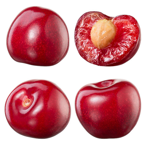 Cherry and a half isolated on white background. Collection stock photo