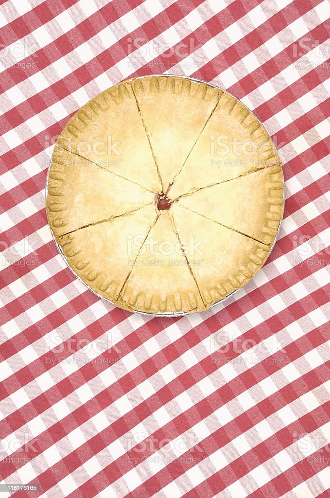 Cherry and apple pie on a checkered tablecloth royalty-free stock photo