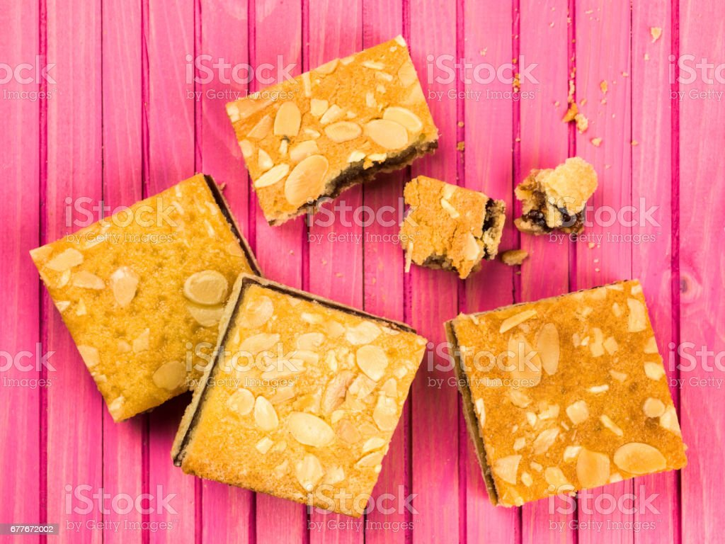 Cherry Bakewell Cake Slices or Squares stock photo