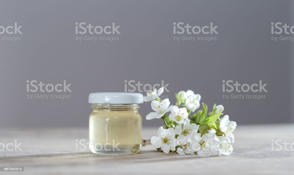 Cherry blossom and spring honey in glass stock photo