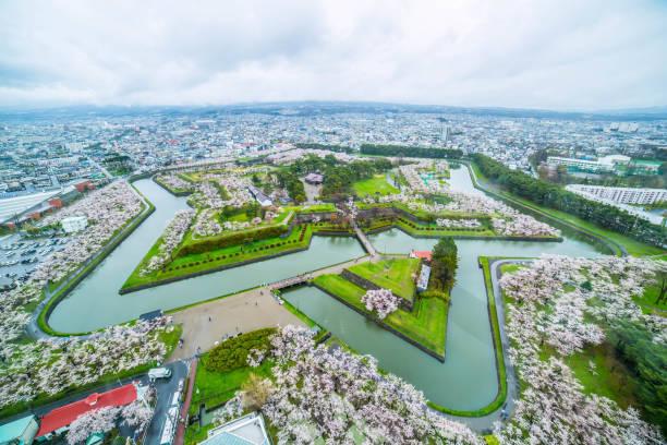 Cherry blossom in Goryokaku Hakodate Hokkaido Japan stock photo