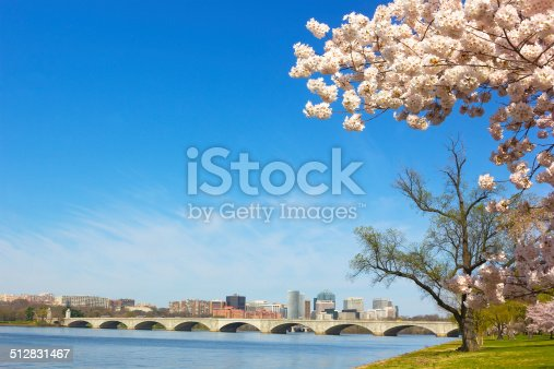 A View on Rosslyn skyscrapers and Arlington Memorial Bridge in spring