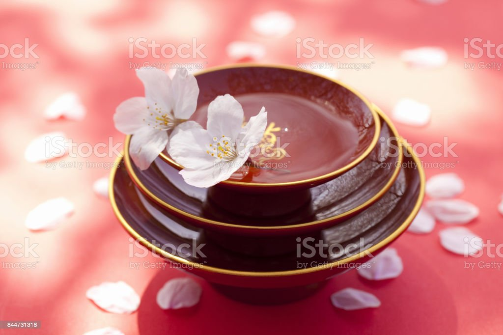 Cherry blossom petals with Cup stock photo