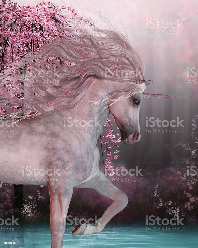 Cherry Blossom Unicorn stock photo