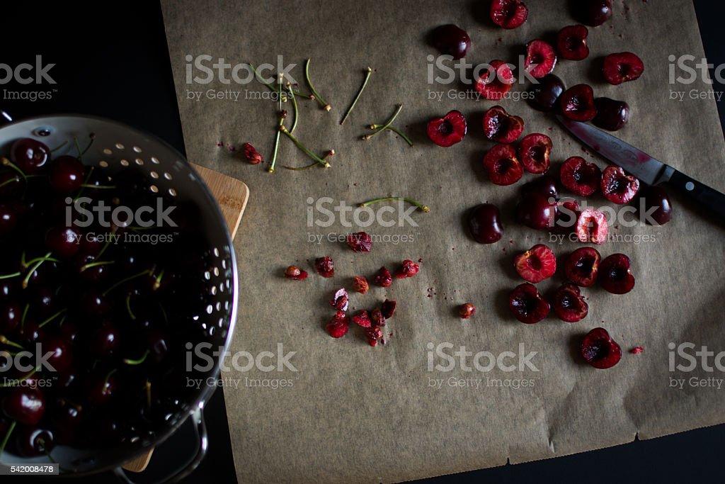 cherry blues on black stock photo