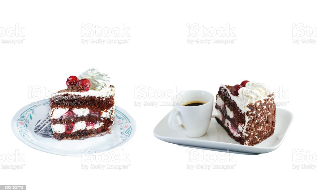 Cherry cake isolated on white background with clipping path. stock photo