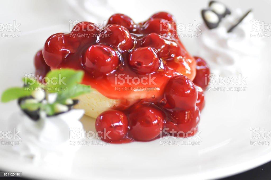 cherry cheese cake stock photo