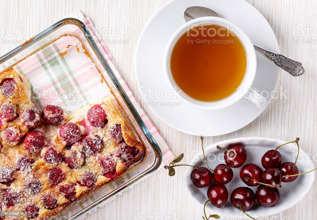 Cherry clafoutis - traditional French sweet fruit dessert stock photo