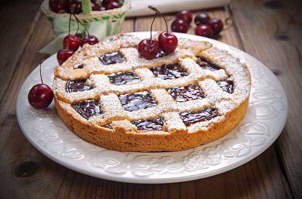 cherry crostata pie - crostata stock-fotos und bilder
