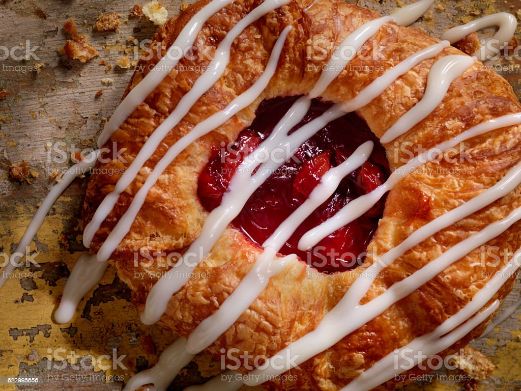 Cherry Danish with Vanilla Icing stock photo
