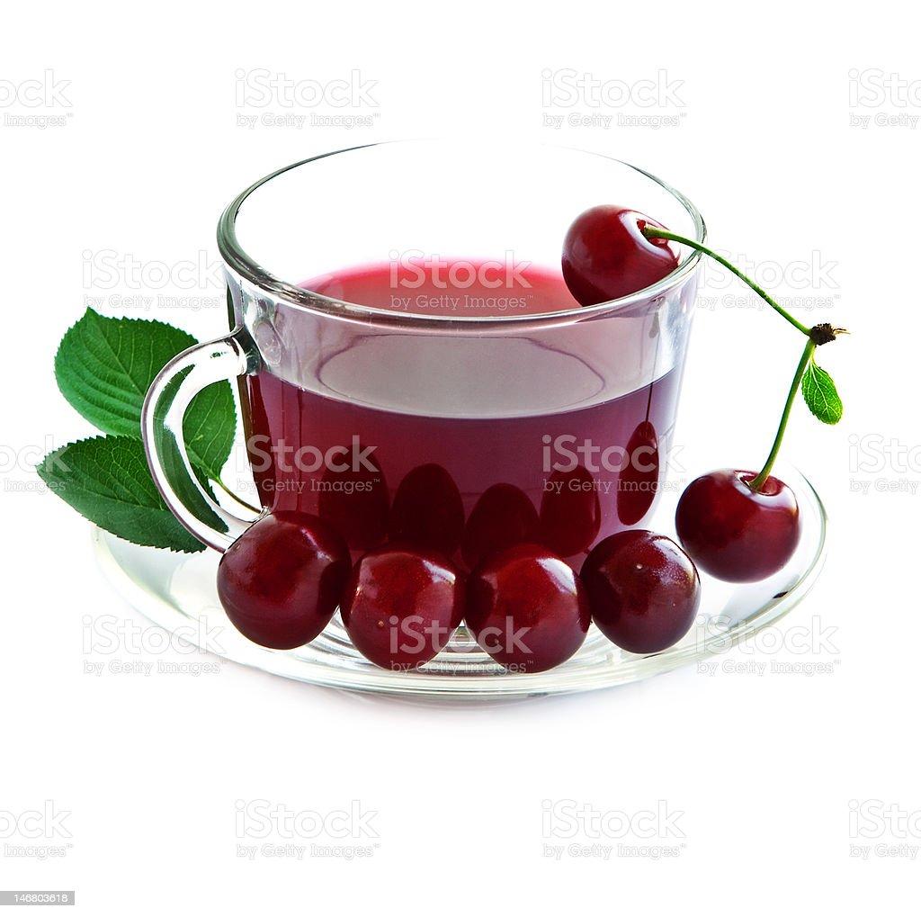 Cherry drink in einen Glas-Becher. Lizenzfreies stock-foto