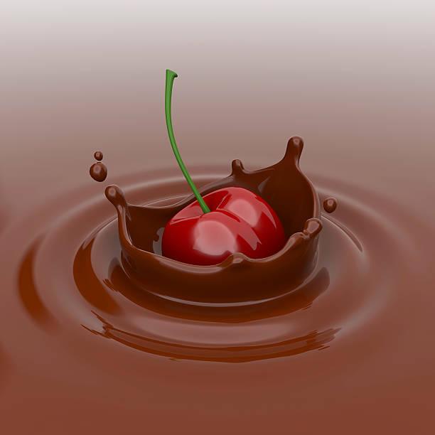 Cherry fallen in der Schokolade. – Foto
