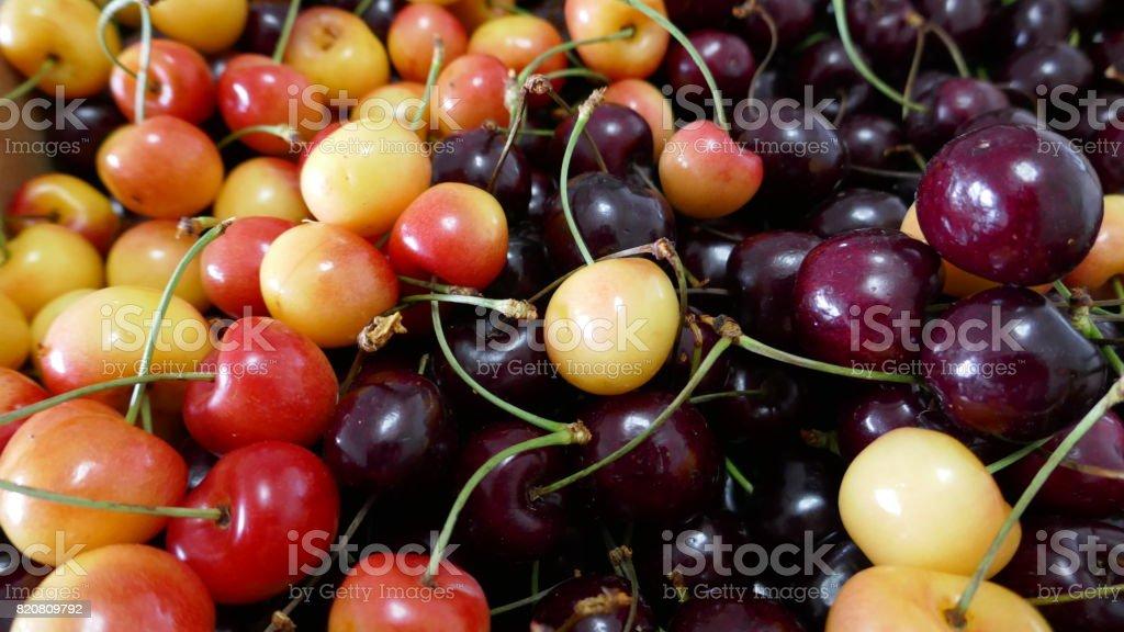 Cherry fruit closeup stock photo