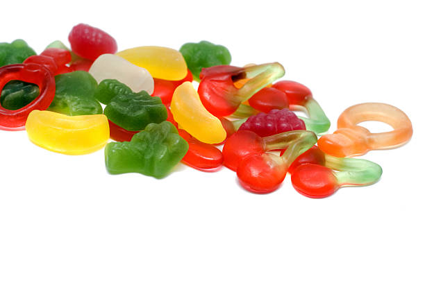 Cherry fruit gummy on white background Close up of Cherry fruit gummy on white background. Assortment of colorful Cherry fruity Gummy isolated on white background jujube candy stock pictures, royalty-free photos & images