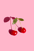 Cherry fruit isolated on pink background