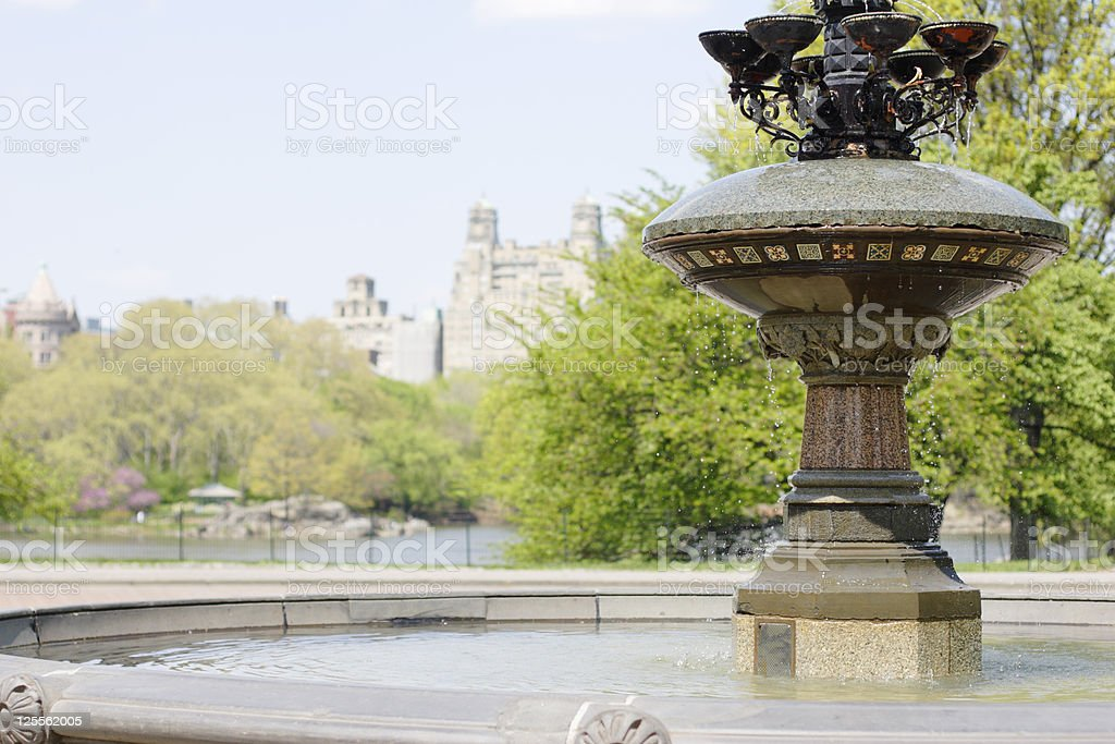 Cherry Hill Fountain - Central Park stock photo