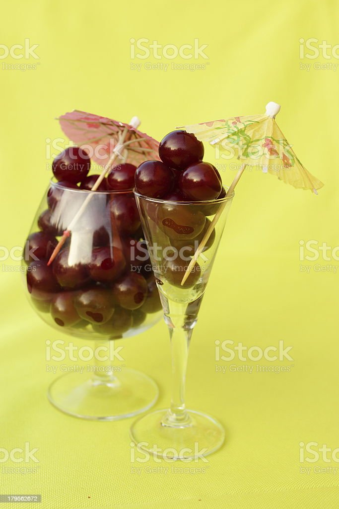 Cherry in glass royalty-free stock photo