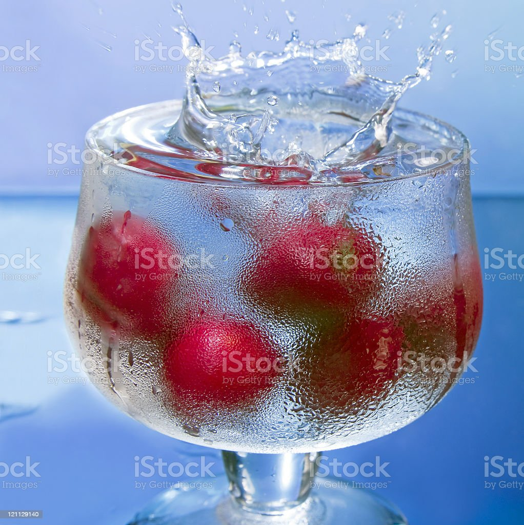 cherry in  water royalty-free stock photo