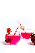 Cherry juice on white background isolated