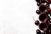 Cherry liqueur and fresh cherries