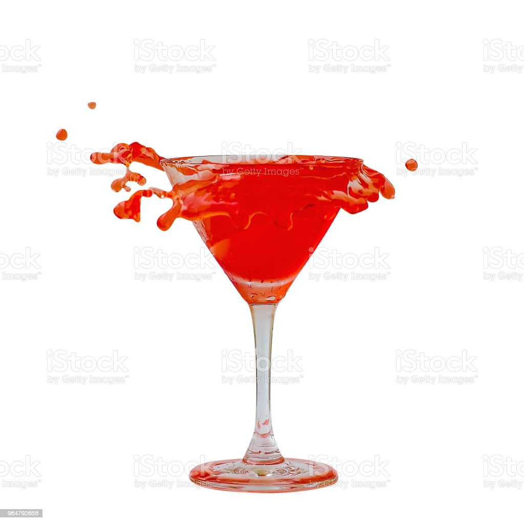 Cherry liqueur cocktail splashing isolated on white background royalty-free stock photo