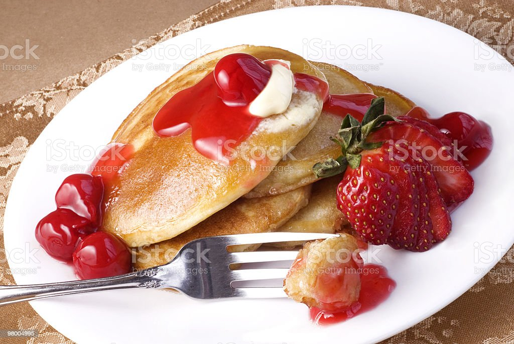 Cherry Pancakes royalty-free stock photo