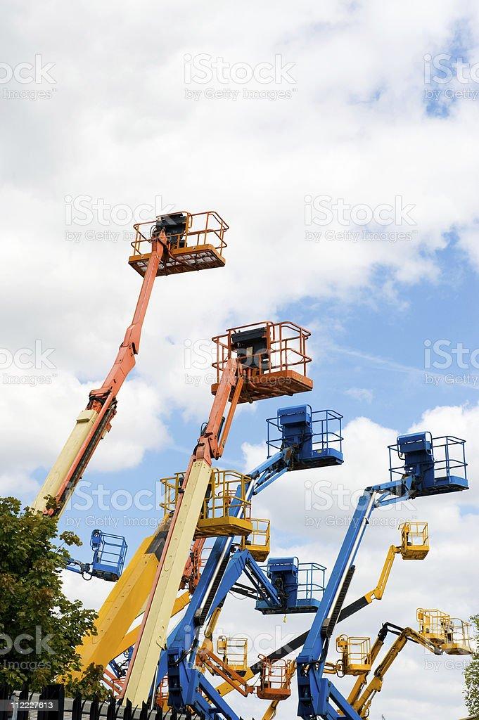 Cherry Pickers hydraulic machines royalty-free stock photo