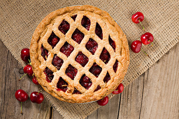 Cherry Pie And Fresh Organic Cherries stock photo