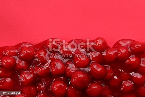 Cherry pie filling frames red copy space.