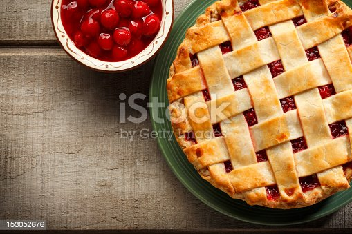 A cherry pie and a bowl of cherries..