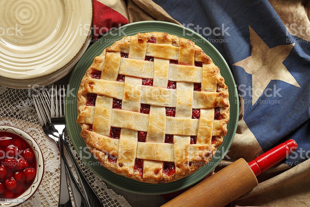 Cherry Pie A cherry pie in a patriotic setting. American Culture Stock Photo