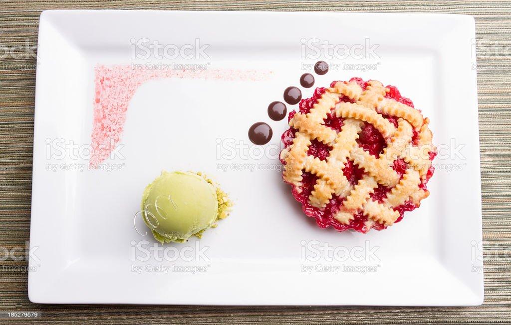 Cherry Pie with Chocolate and Pistachio Ice Cream stock photo