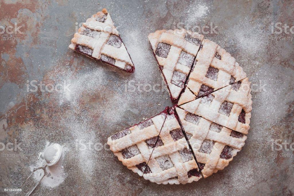 Cherry pie with lattice top stock photo