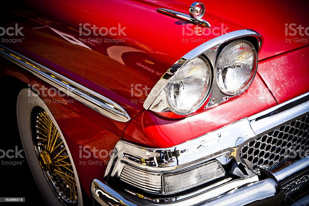 Cherry Red Restored Car royalty-free stock photo