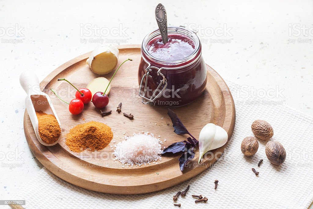 Cherry sauce with cheese brie royalty-free stock photo