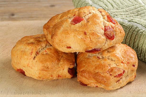 cherry scones stock photo