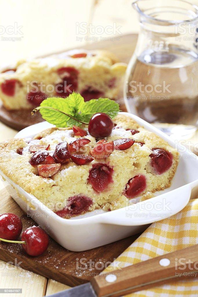 Cherry sponge cake royalty-free stock photo