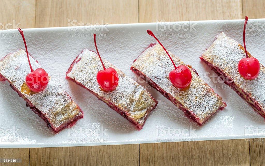 Cherry strudel stock photo