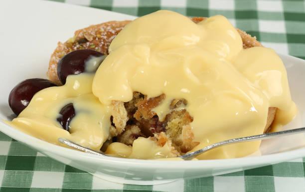 cherry tart with custard stock photo