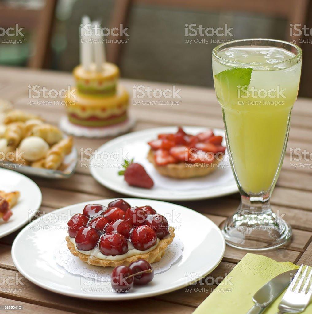 cherry tart with lemonade stock photo