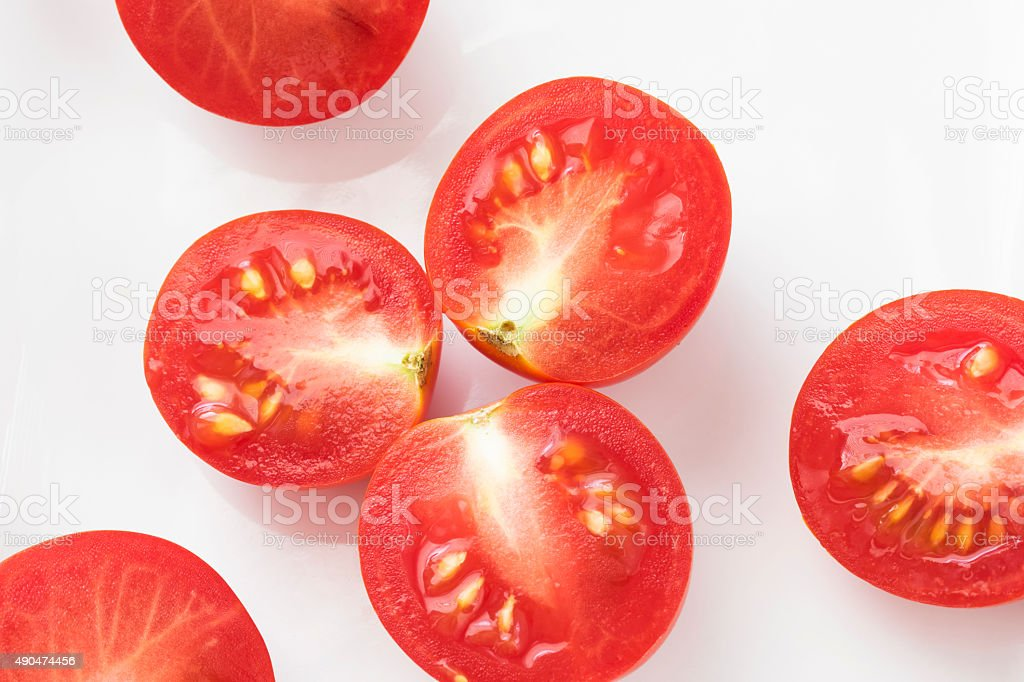 cherry tomato halves stock photo