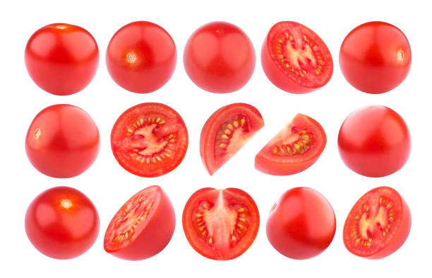 Cherry tomato isolated on white background. Collection stock photo