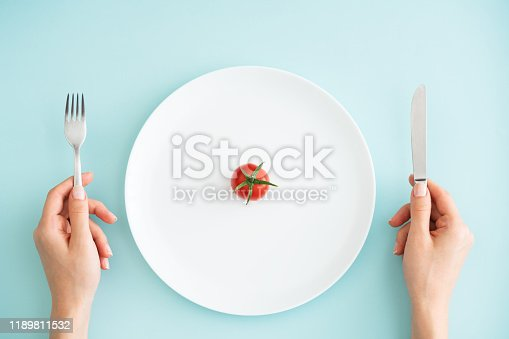 Plate, Fork, Food, Hand, Tomatoes