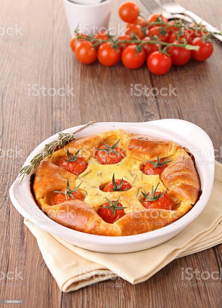 cherry tomato  quiche/clafouti stock photo