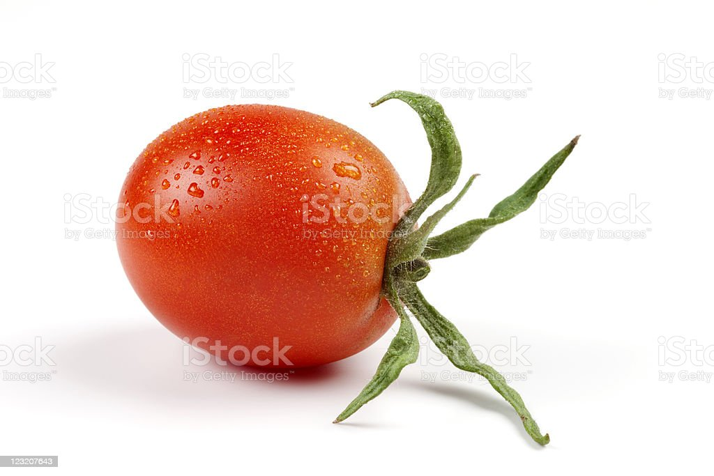 Cherry tomato with drops royalty-free stock photo